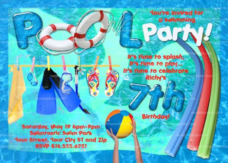 Imprimer Invitation Piscine Pool Party Pool Party Invite