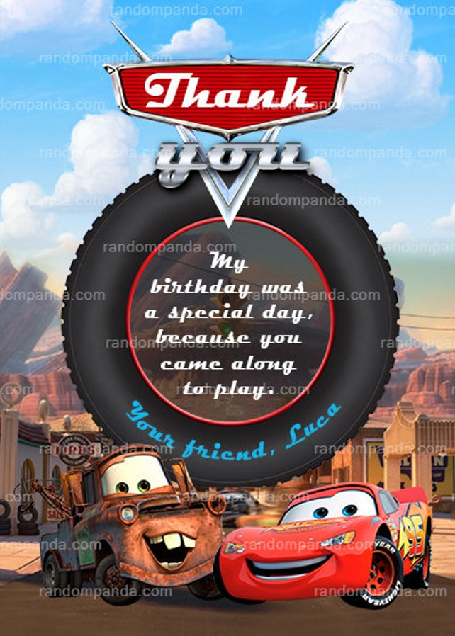 Personalize Cars Invitation Mater Party Lightning McQueen Invite