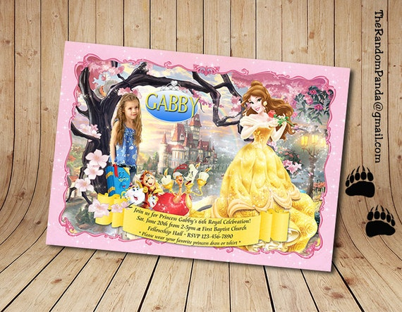 Personalize Belle Invitation Disney Princess Party