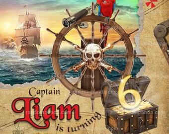 Pirate Birthday Invitation, Pirate Party, Pirate Ship Invite