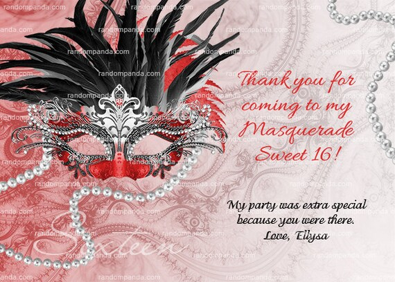 Red And Black Masquerade Ball Thank You Card Sweet 16 Quinceanera