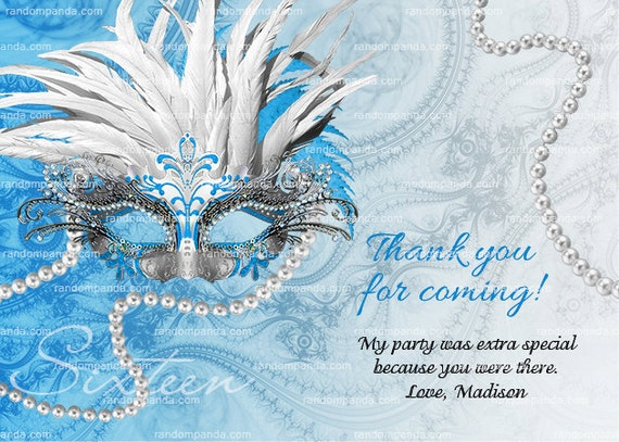 Blue Silver Masquerade Thank You Card Sweet 16 Quinceanera Thanks