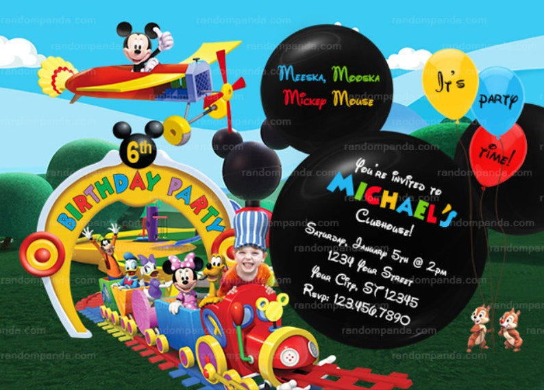 Mickey Mouse Plane Party Invite Personalize Mickey Mouse Ride the Train Invitation