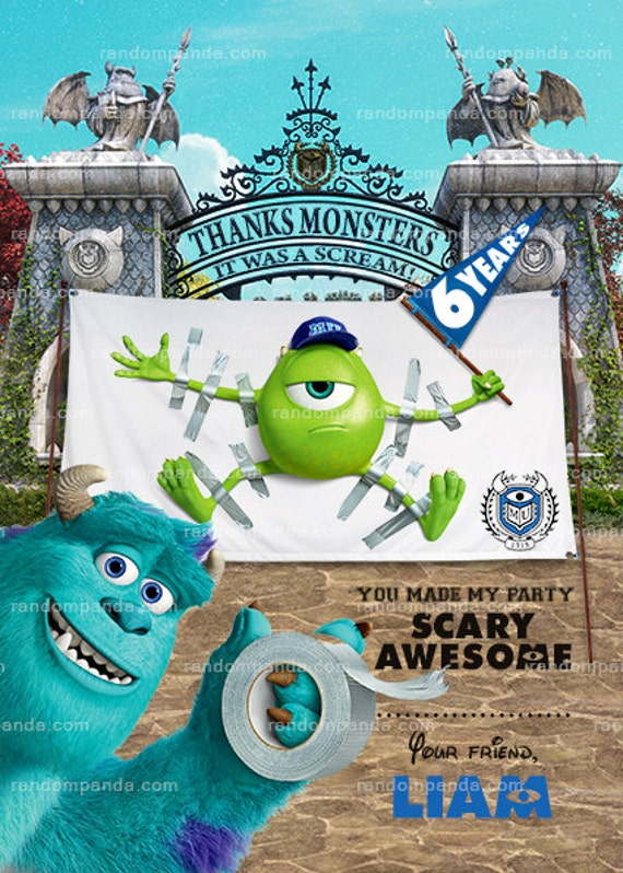 Monsters University Thank You Card Monsters Inc Birthday Etsy
