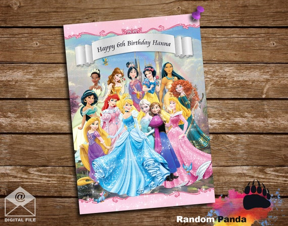 Personalized//Customized Disney Princess Name Poster Wall Art Decoration Banner