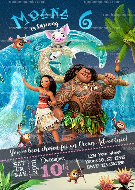 Moana Party Invitation Maui And Pua Birthday Invite