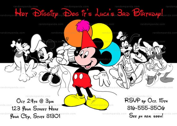 Printable Mickey Mouse Invitation Mickey And Friends Birthday Party