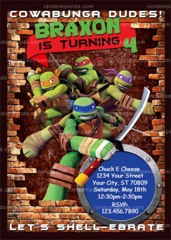 Printable Teenage Mutant Ninja Turtles Invitation Tmnt Party Etsy