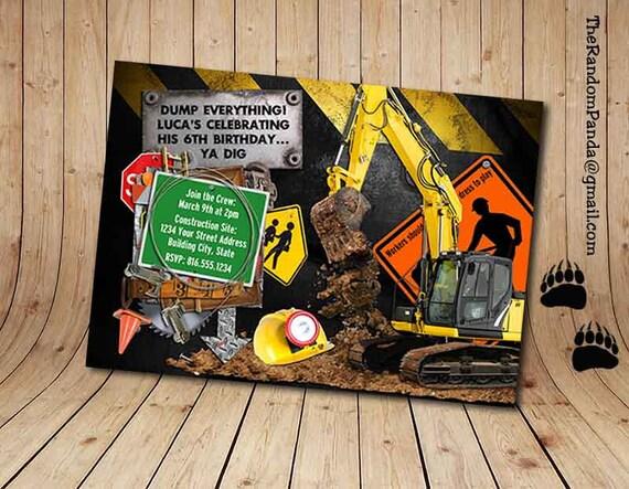 printable construction worker invitation builder invite digger