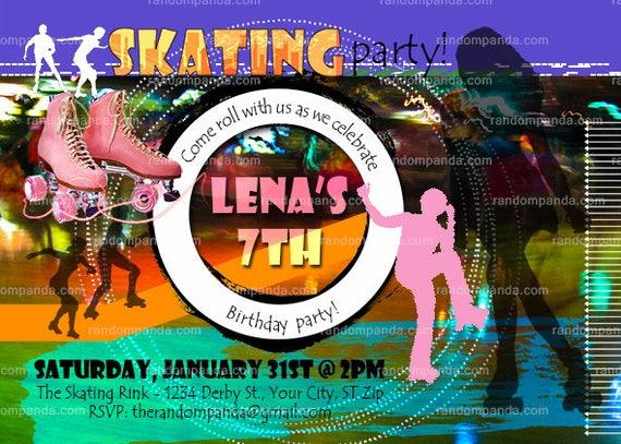 Printable Pink Roller Skating Party Invitation Girls Skate Birthday
