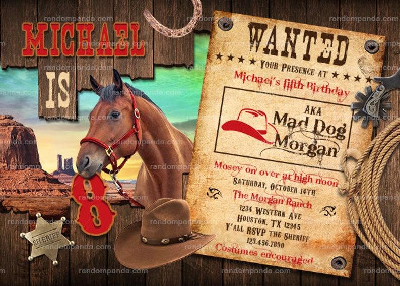32e77b1f7de Cowboy Invitation fête Western Far West cheval anniversaire