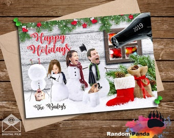 Digital Delivery  Funny Christmas Card, Snowman Family, Snowmen Scared Holiday Card