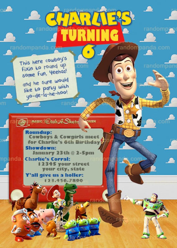 Toy Story Invitation Woody Cowboy Roundup Party Invite By Random