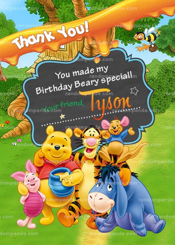 Winnie And The Pooh Thank You Card Tigger Birthday Party Etsy