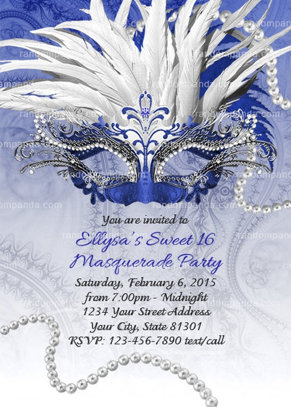 Masquerade Ball Invitation Royal Blue Sweet 16 Party Quinceanera