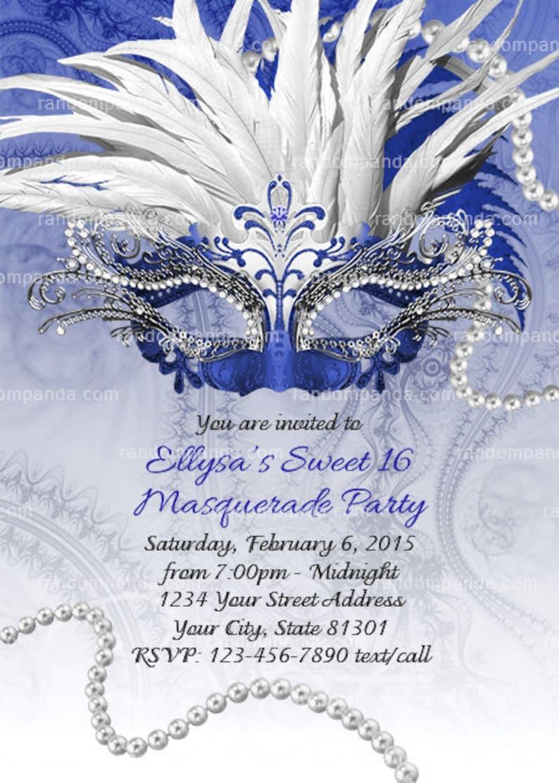 Masquerade Ball Invitation Royal Blue Sweet 16 Party Etsy