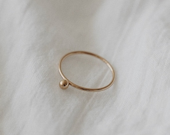 Ball Stacking Ring - 14k Gold Filled Dainty Thin Ring - Minimalist Simple Everyday Ring