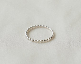Dot Stacking Ring - Sterling Silver Dainty Thin Ring - Minimalist Simple Everyday Ring