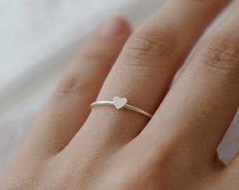 Tiny Heart Stacking Ring - Sterling Silver Dainty Thin Ring - Minimalist Simple Everyday Ring
