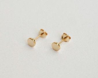Circle Stud Earrings - Small Dot Minimalist Studs - Simple & Dainty Geometric Earrings - 14k Gold