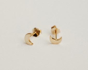 Crescent Moon Earrings - Minimal Stud Earrings - Dainty Simple Everyday Earrings - 14k Gold - Cute Delicate Studs