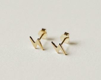 Lightning Bolt Stud Earrings - Small Geometric Earrings - Dainty & Minimalist Earrings - 14k Gold