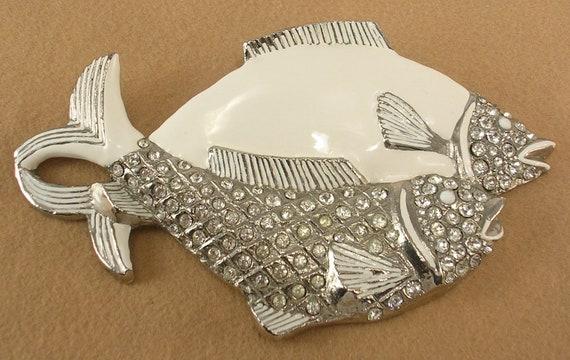 White Enamel and Rhinestones Fish Pair Buckle Women/'s Unsigned Large 80s Era