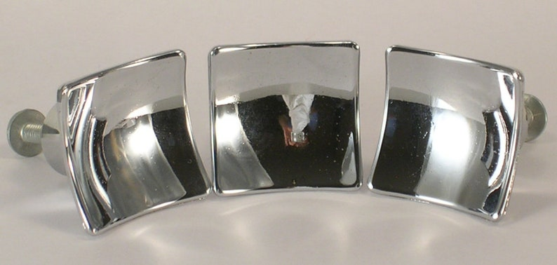 Mid Century Chrome Drawer Pulls Set of 3 with Hardware Mid Century Modern Style