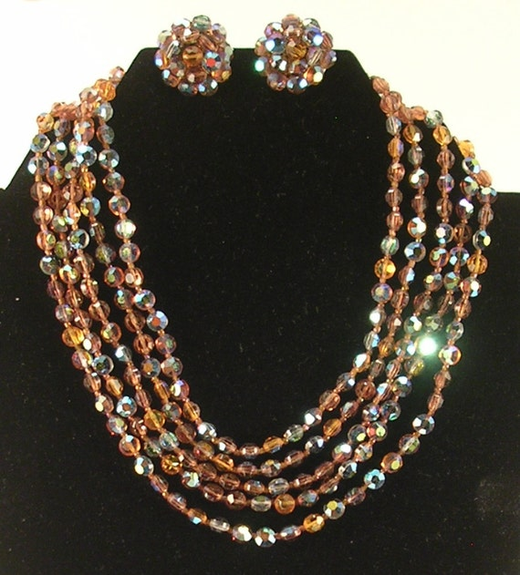 Orange and Brown Sparkly Glass Bead Choker Necklac
