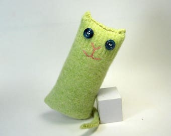 Green Cat, Wool Stuffed Kitty Cat, Upcycled Sweater, Eco Friendly Stuffed Kitty