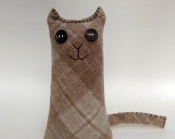 Stuffed Plush Wool Cat from Repurposed Sweater Sleeve