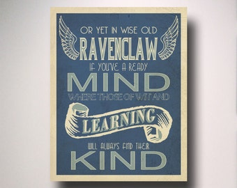 Ravenclaw Poster / Harry Potter Poster / Ravenclaw House Art / Harry Potter Typography / Wall Art / Hogwarts Houses Collection