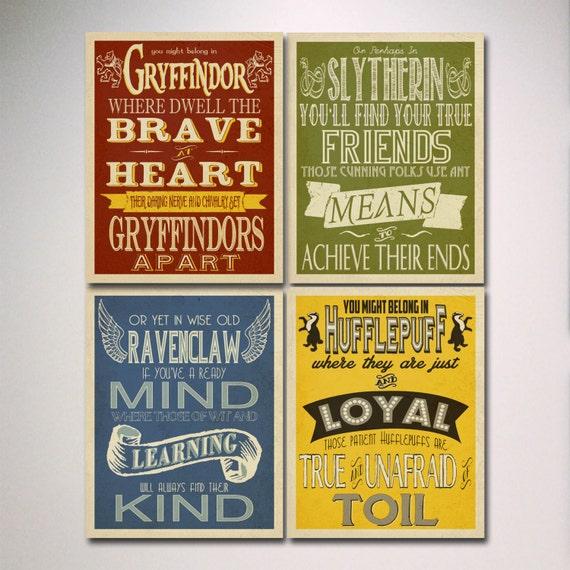 Harry Potter House Posters Prints / Hogwarts Houses Prints /
