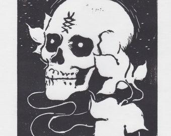 Skull - Original Block Print