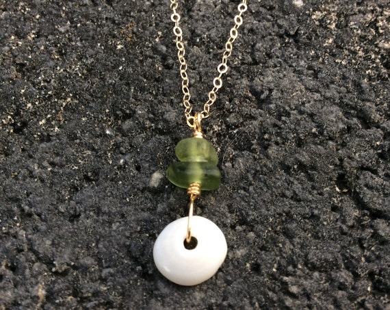 Hawaiian Puka Shell, Olive Green Seaglass, 14k Gold Filled Chain Necklace