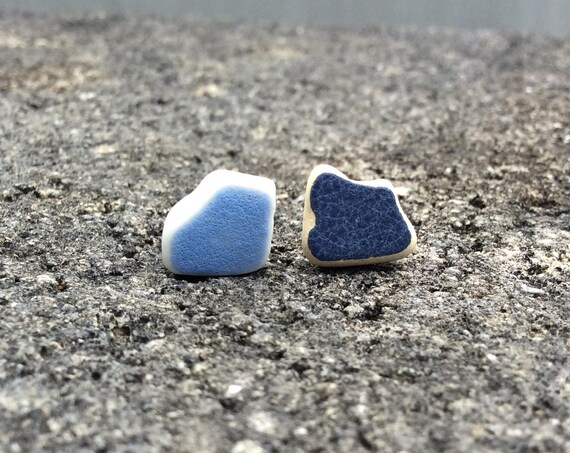 Surf Tumbled, Sea Pottery, Hypoallergenic Stainless Steel Stud Earrings