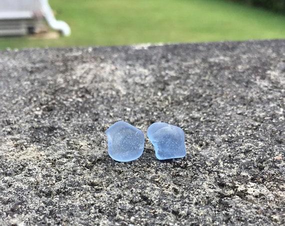 Surf Tumbled, Cornflower Blue Seaglass, Hypoallergenic Stainless Steel Stud Earrings