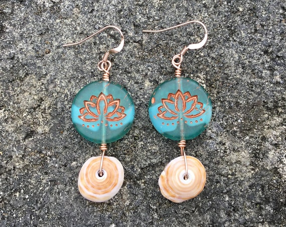 Hawaiian Puka Shell, Matte Green Aqua White, Lotus Flower Copper Czech Glass Bead, 14k Rose Gold Filled Earrings