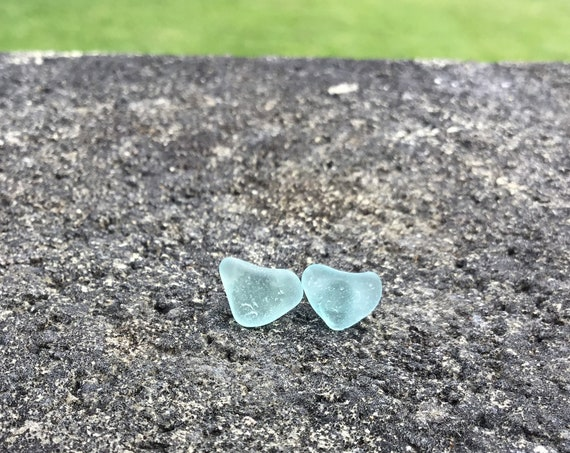 Sky Blue, Heart Shaped, Surf Tumbled Seaglass, Hypoallergenic Stainless Steel Stud Earrings
