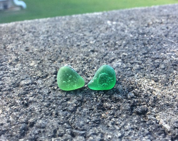 Surf Tumbled, Kelly Green Seaglass, Hypoallergenic Stainless Steel Stud Earrings