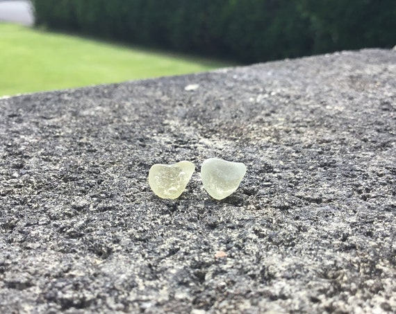 RARE Yellow Heart Shaped Surf Tumbled Seaglass Hypoallergenic Stainless Steel Stud Earrings