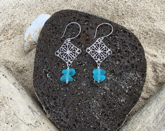 Recycled Aqua Blue Seaglass, Sterling Silver Earrings