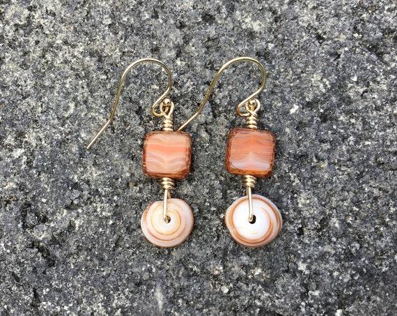 Hawaiian Puka Shell, Square Autumn Czech Glass Bead, 14k Gold Filled Earrings