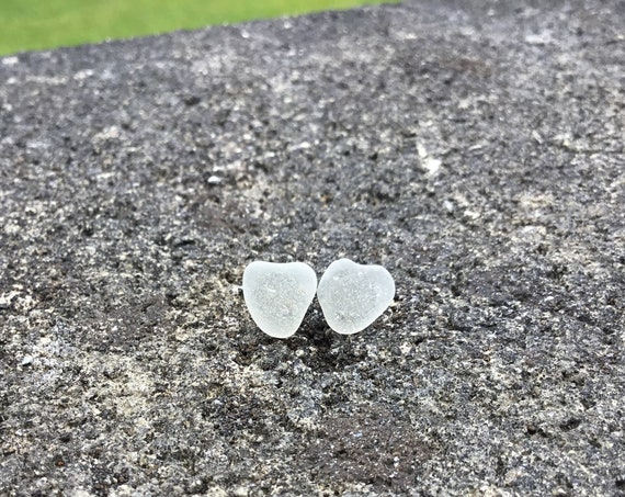 Surf Tumbled, Frosted White Seaglass, Hypoallergenic Stainless Steel Stud Earrings