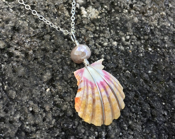 Pink Coral /& Yellow Jade on Sterling Silver Rolo Chain #SUN14 Blue Topaz Citrine Sunrise Shell with Labradorite
