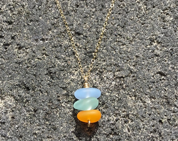 Recycled Multicolored Stacked Seaglass, 14k Gold Filled Chain Necklace