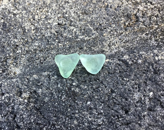 Mint Green, Heart Shaped Surf Tumbled, Hypoallergenic Stainless Steel Stud Earrings