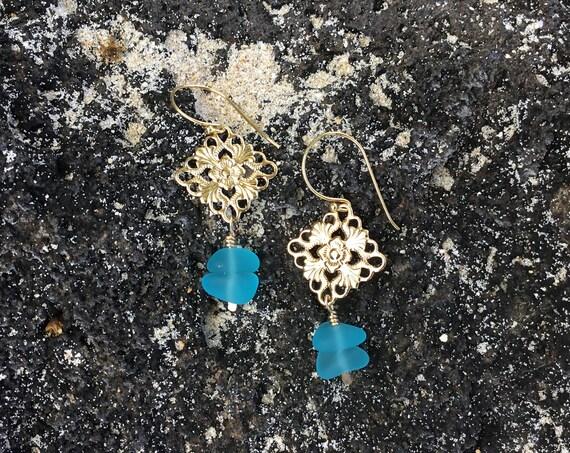 Recycled Aqua Blue Seaglass, 14k Gold Filled Earrings