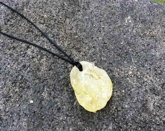 UNISEX - RARE Surf Tumbled XLG Yellow Crackled Seaglass Satin Cord Necklace