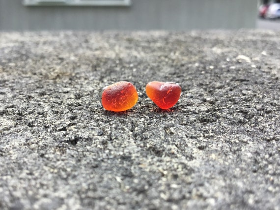 RARE - Ruby Red/Orange Surf Tumbled Seaglass, Hypoallergenic Stainless Steel Stud Earrings